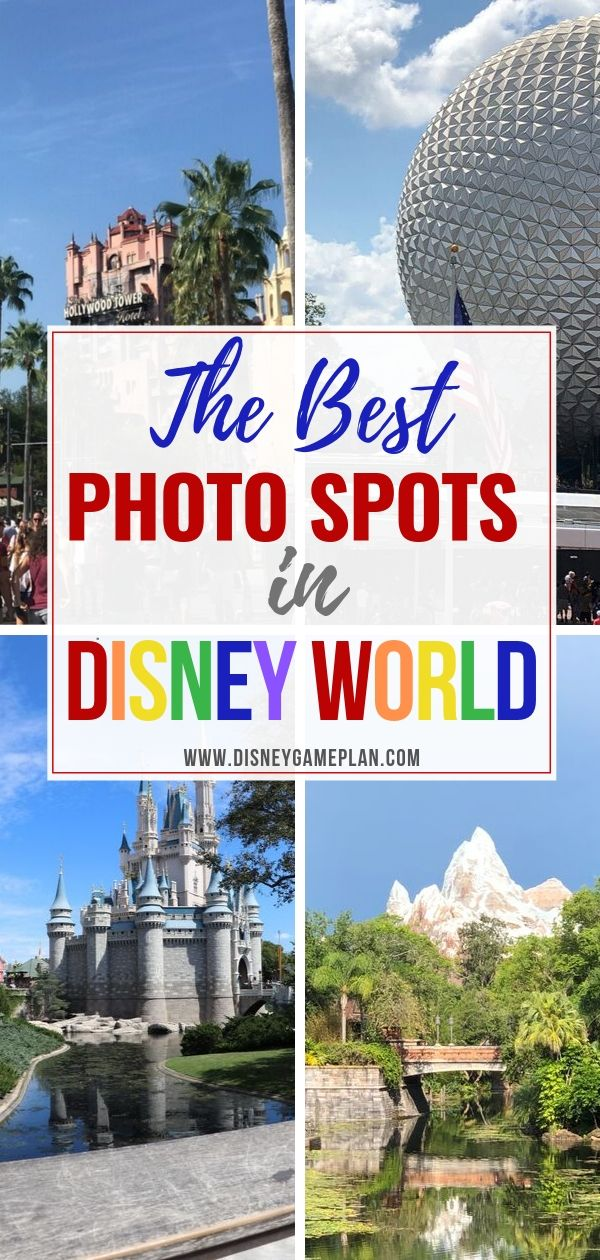 A Disney picture is worth a thousand words! We have the best Walt Disney World picture spots covered. here are the best photo locations in all four Walt Disney World theme parks. So stop and take a Disney family photo, or a Disney selfie and one of these special locations. #disneyplanningtips #disneyphotos #disneyworldhacks