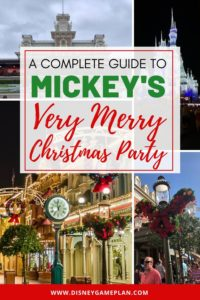Disney At Christmas is a definite Must-Do. Here is Insider Guide to Mickey's Very Merry Christmas Party at Walt Disney World that includes all the details about this festive Disney holiday party. If you are planning to attend Mickey's Very Merry Christmas Party at Magic Kingdom, read this essential guide for helpful Disney planning tips. #DisneyTips #DisneyChristmas #MickeysVeryMerryChristmasParty
