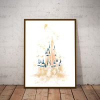 Original Disney Watercolor Print Cinderella Castle