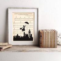 Mary Poppins Silhouette Disney Supercalifragilisticexpialidocious Sheet Music Art Print