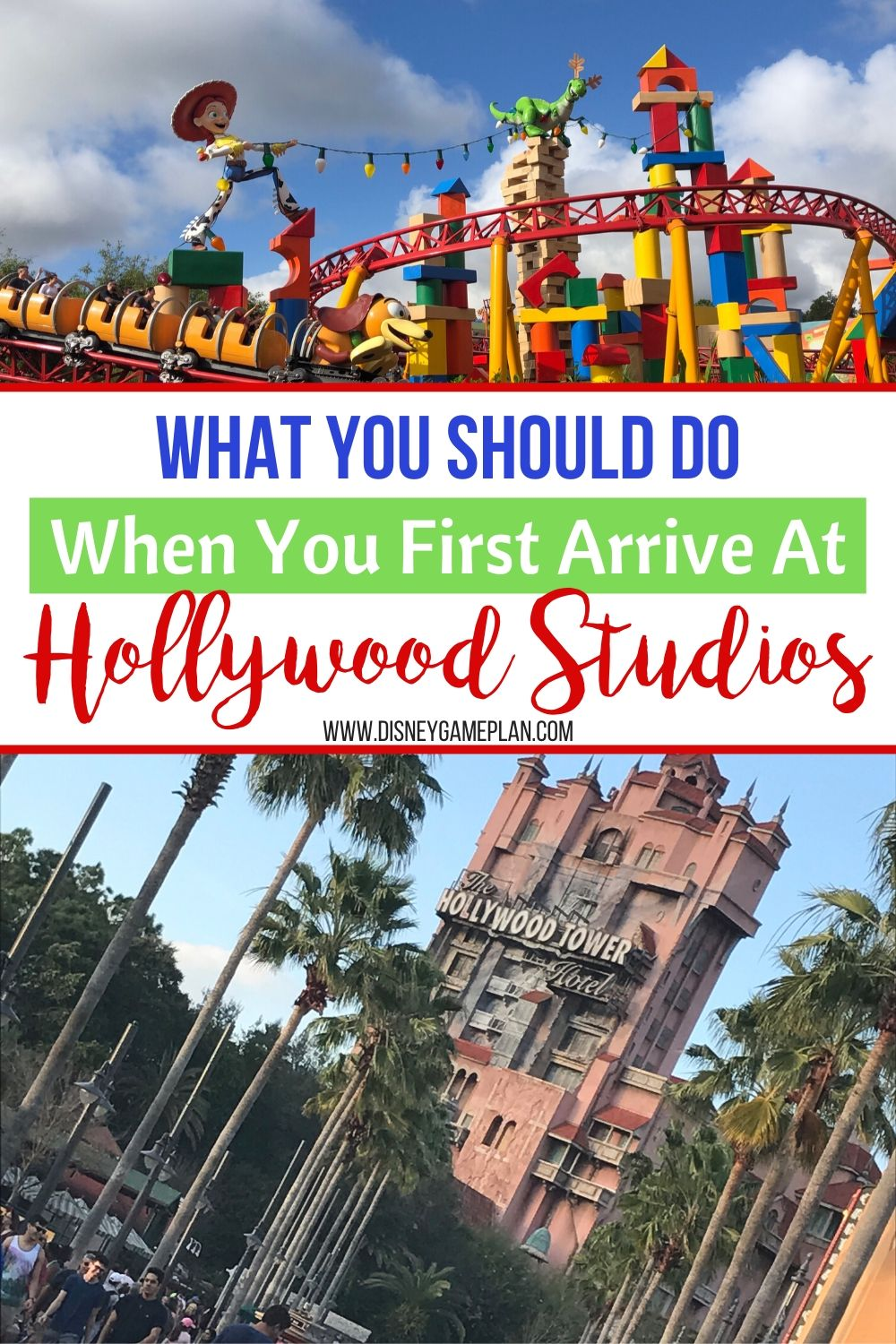 Here are the first things you should do when you first arrive at Disney Hollywood Studios Park at Walt Disney World. Check out these Disney Planning tips. Disney Hollywood Studios is in some ways the most complex park at Walt Disney World. The attractions span the spectrum of shows for small children to thrills for teens and up. There is a mishmash of theming that ranges from studio lot theme to immersive worlds from Star Wars and Toy Story. #DisneyWorldPlanningTips #HollywoodStudios